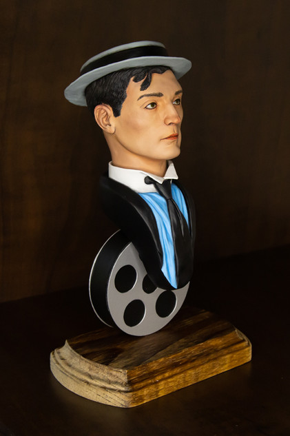 Buster Keaton bust - painted 2