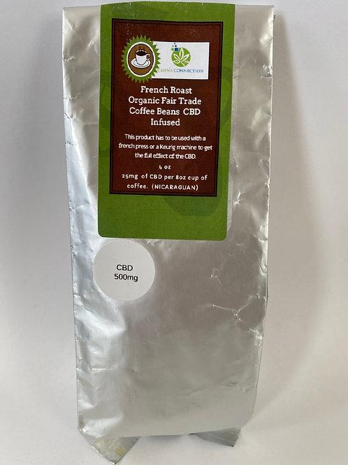 French Roast Organic Fair Trade Coffee Beans CBD Infused