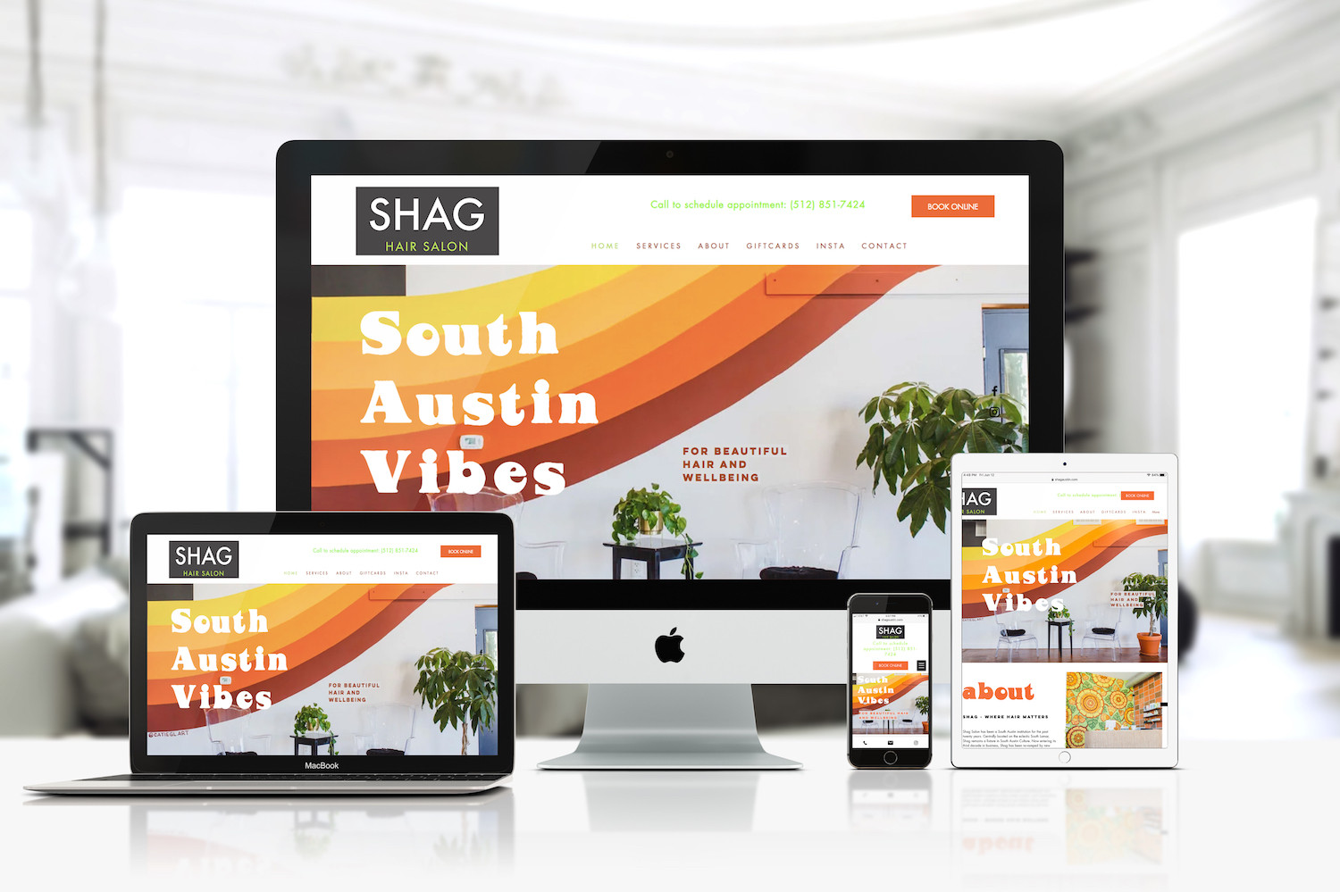An Austin institution, SHAG Salon switched ownership, and with it came a complete rebranding. The new owners wanted to pay homage to the retro vibe of the building. Located on trendy South Lamar in Austin, SHAG Salon went bold in colors and look to reflect the 1970ies area feel the brand has. The website we build for them reflects that feel with bold colors, fonts, and overall design.