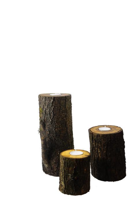 Baumstamm-Kerze