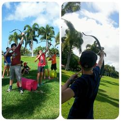 Hickam homeschoolers test their Sky-shooting skills #Archeryforall #Lovetoshoot #homeschoolpe