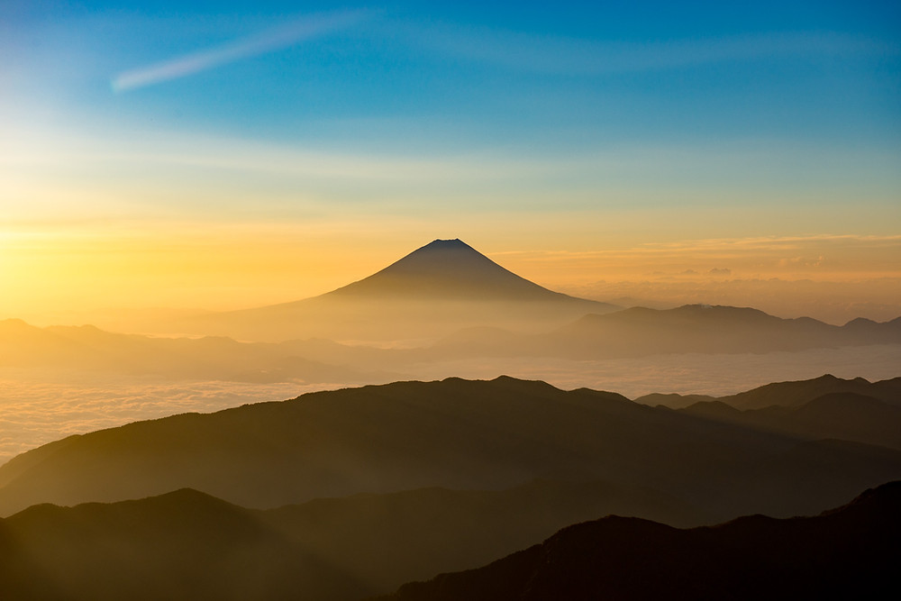 View of Mount Fuji from the top of Kita Dake