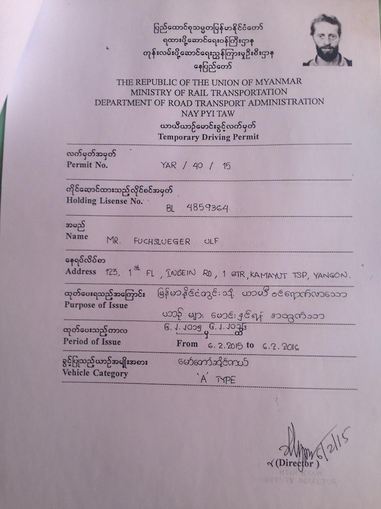 My Myanmar driving license