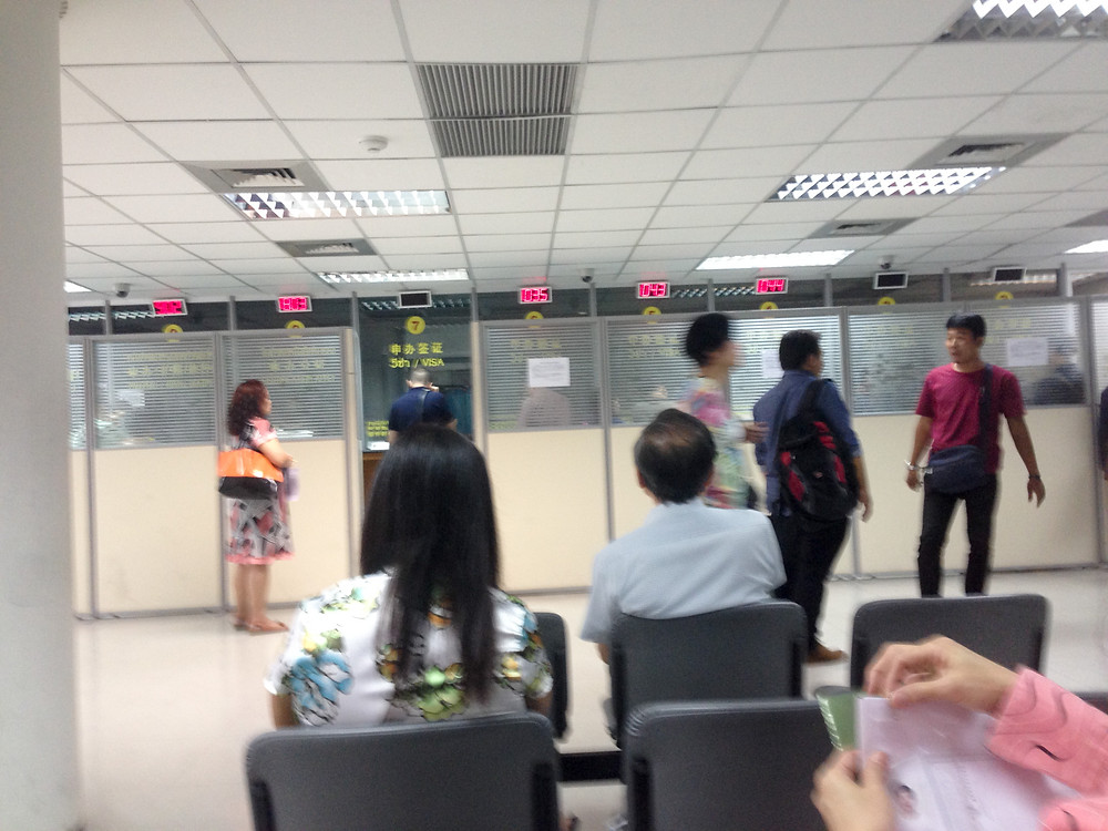The visa section of the Chinese embassy in BKK