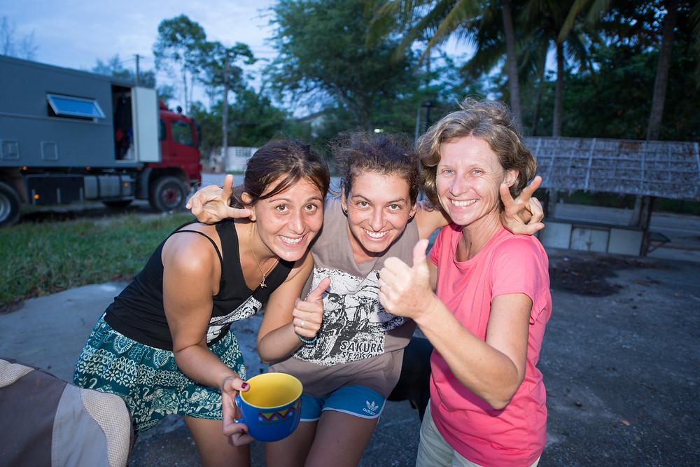 The 3 overlander girls: Berna, Verena & Gisela
