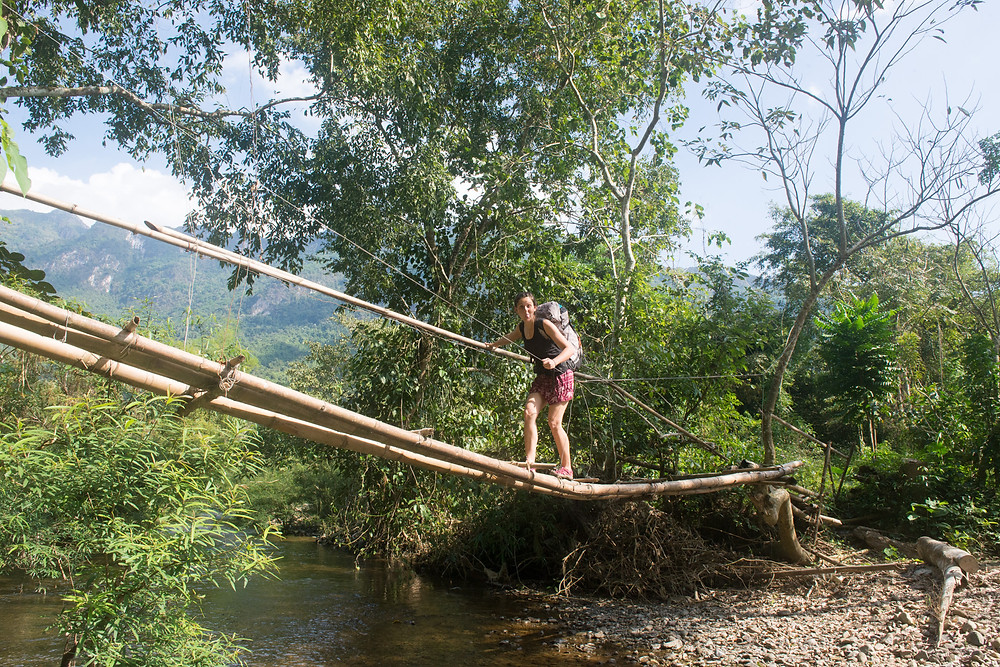 A bamboo bridge near Pha Tang