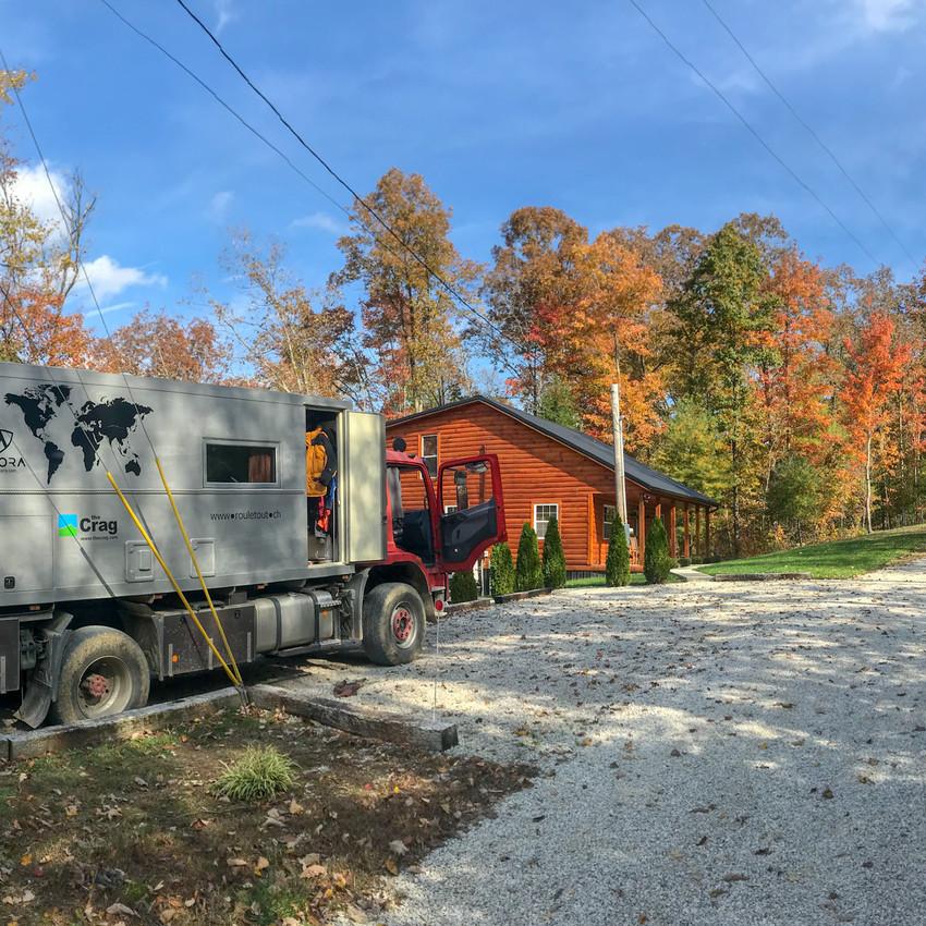 In front of Ken's cabin