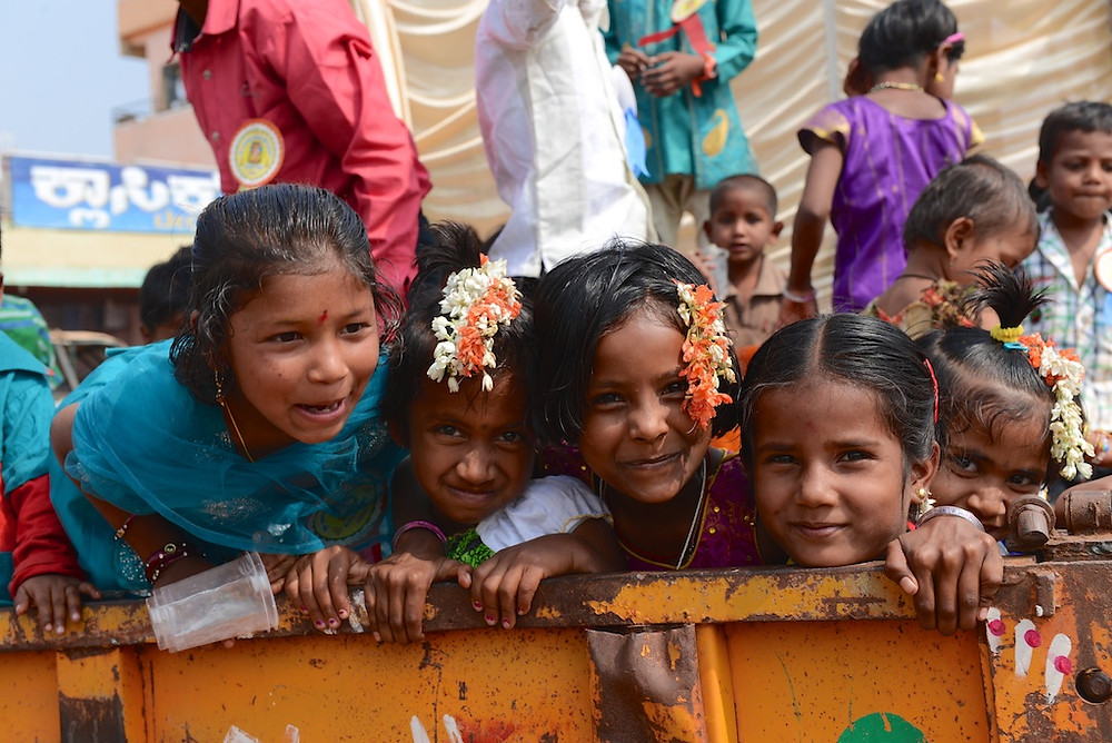 Girls at one of the many festivals in southern India