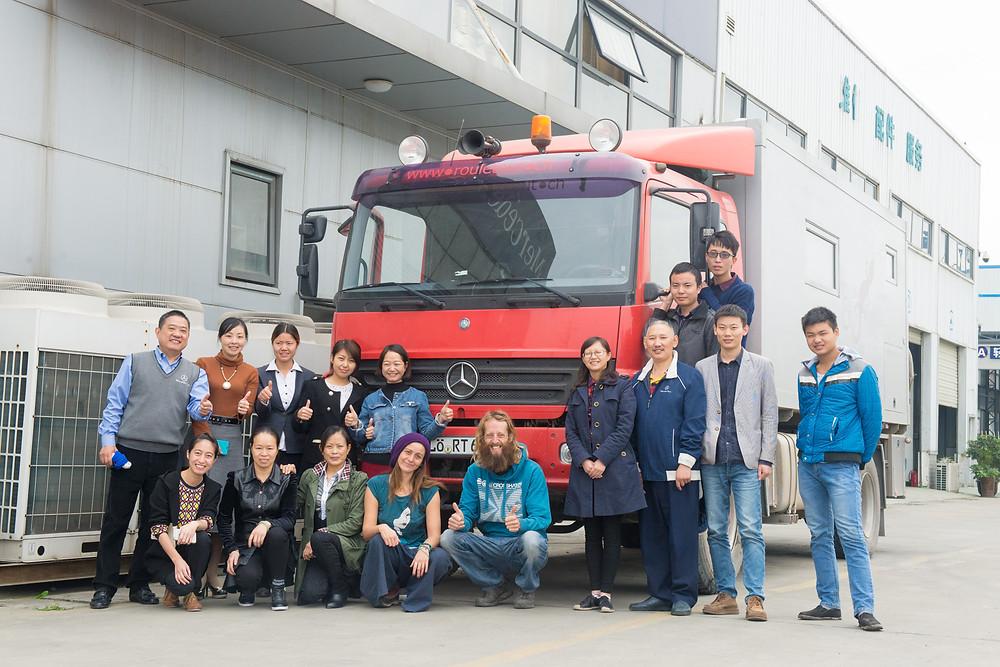 The Mercedes team in Chengdu