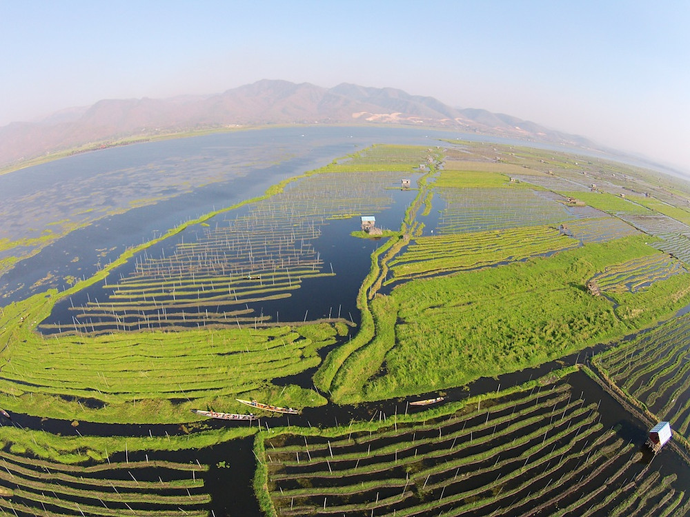 Drone view of lake Inle