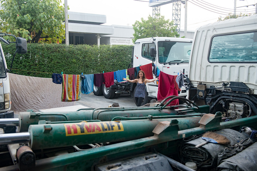 Laundry day at the truck workshop