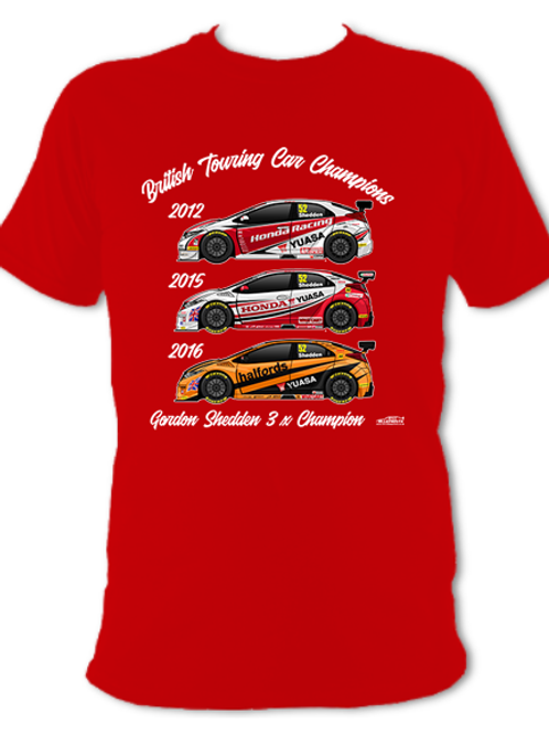 Gordon Shedden 3 x Champion | Adult Unisex | Short Sleeve T-Shirt