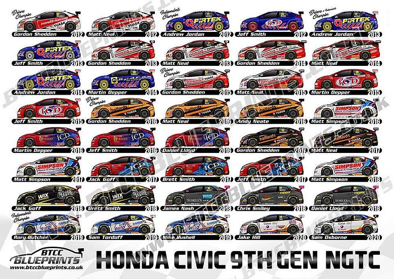 Honda Civic 9th Gen BTCC Poster