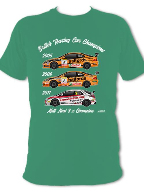 Matt Neal 3 x Champion | Adult Unisex | Short Sleeve T-Shirt