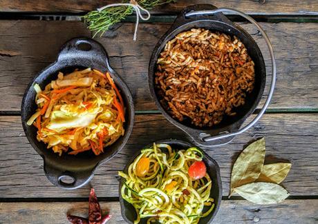 Pesto Zucchini, Mustard Slaw and Orzo Salad