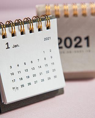 Happy new year 2021. Close up calendar o