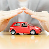 Businesswoman hands and car as protectio
