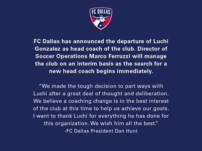 FC Dallas Parts Ways with Luchi Gonzalez