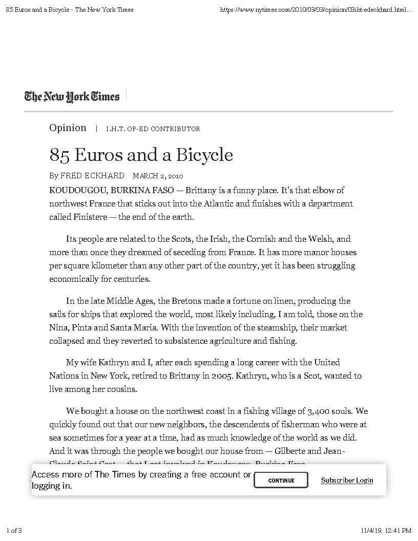 85 Euros and a Bicycle - The New York Ti