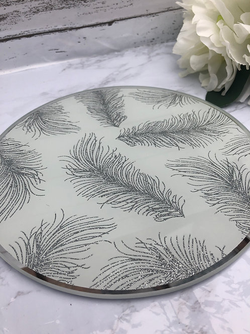 Mirror Candle Plate with Feather Design