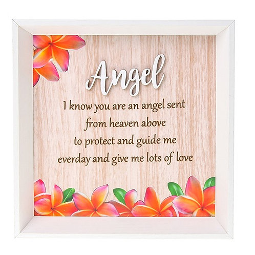Angel Plaque Wooden Frame