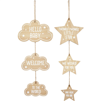 Cloud / Star New Baby Triple Hanging Sign