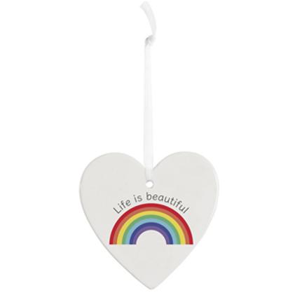 Rainbow Heart / White Ceramic Heart with Rainbow   Life is Beautiful