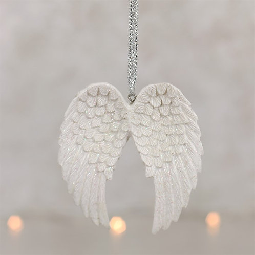 Hanging Angel Wings White Glitter