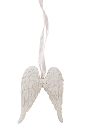 Angel Wings White Glitter Hanging Decoration With a choice of Ribbon