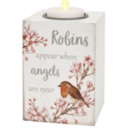 Robin T-Light Holder / Robins Appear When Angels Are Near