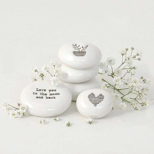 East of India | Love You to The Moon and Back White Keepsake Pebble