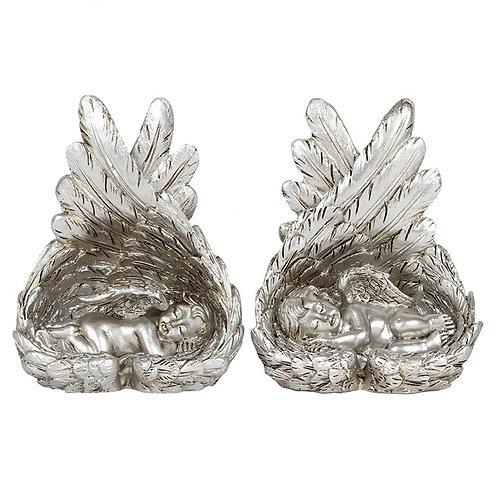 Silver Sleeping Cherub in Angel Wings
