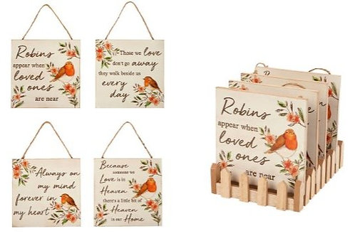 Robin Wooden Hanging Wall / Quote Sign
