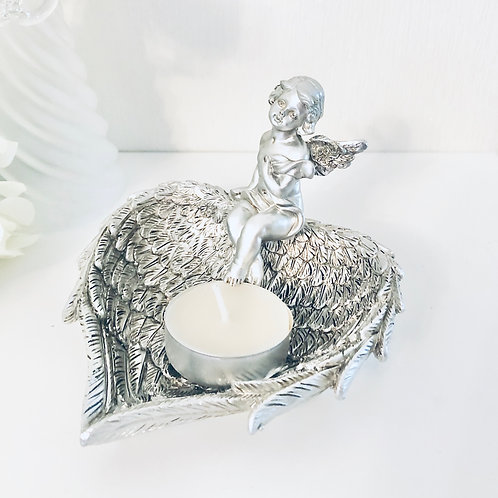Silver Cherub Wing Dish / T-Light Candle Holder