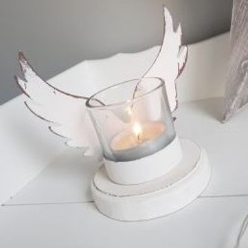 Angel Wings Tea Light Holder - Gold /White