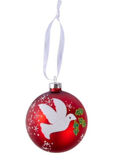 Dove Christmas Red Bauble