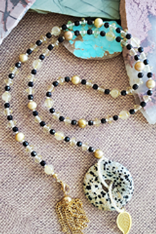"30"" Dalmation Jasper Lariat with tassel & leaf adornments"