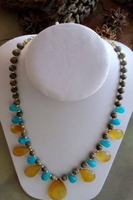 "19"" Beautiful Large Citrine Stones and Aqua Czech glass beads"