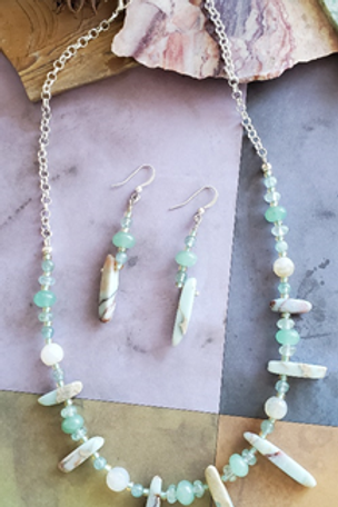 Spikey Agate Necklace and Earrings