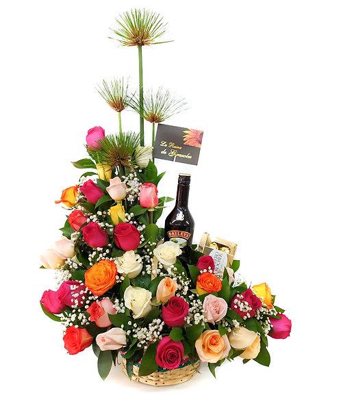 Canasta de Rosas con Baileys y Ferrero Rocher