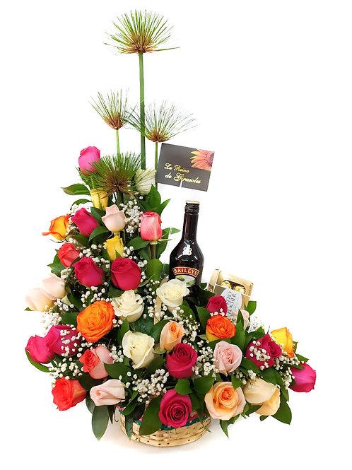 Canasta de rosas en L con Baileys