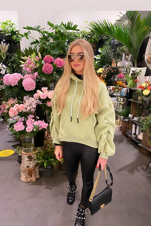 Mint ruched hoodie