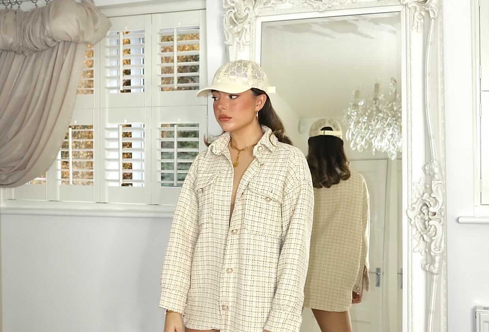 Courtney Smith Cream over shirt pearl buttons