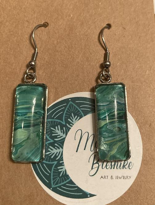 Low tide Green rectangular earrings .