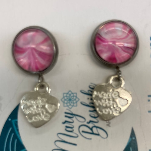 Made with love Charm on a pink  swirl post