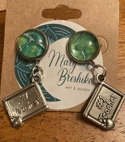 Low tide Green #1 Teacher post earrings