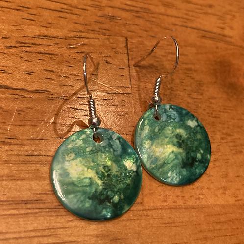 Natural Shell Greens- Earrings