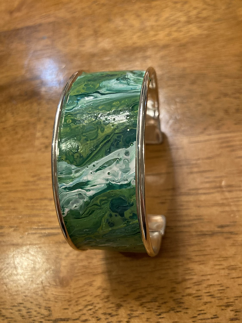 """Play of greens and swirls of white acrylic pour 1"""" cuff bracelet"""