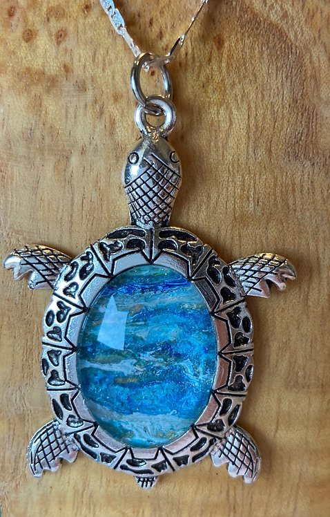 Sea Turtle in Light Blues and Gold