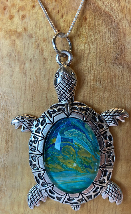 Sea Turtle in Golden yellow and Ocean swirls
